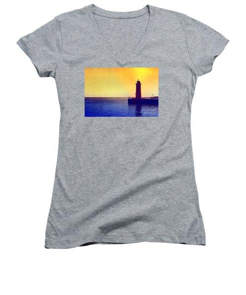 Lake Michigan Women's V-Neck T-Shirt (Junior Cut) by Erika Weber