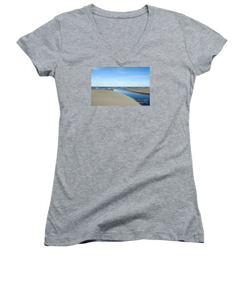 Lake Michigan Waterway  Women's V-Neck T-Shirt (Junior Cut) by Verana Stark