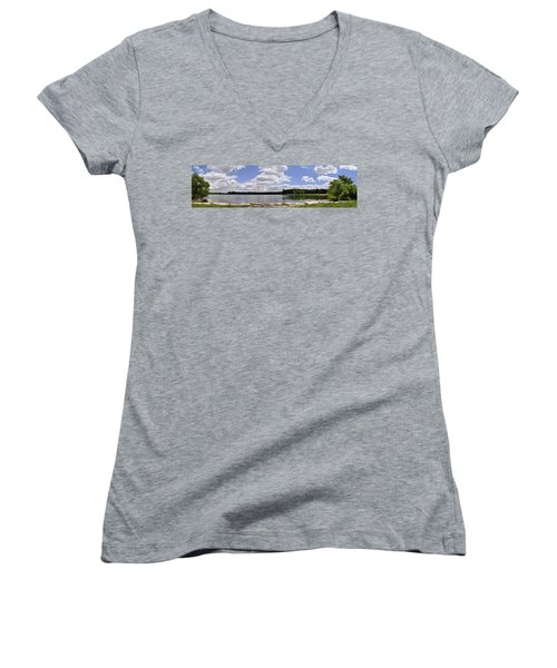 Women's V-Neck T-Shirt (Junior Cut) featuring the photograph Lake Of Dreams by Verana Stark