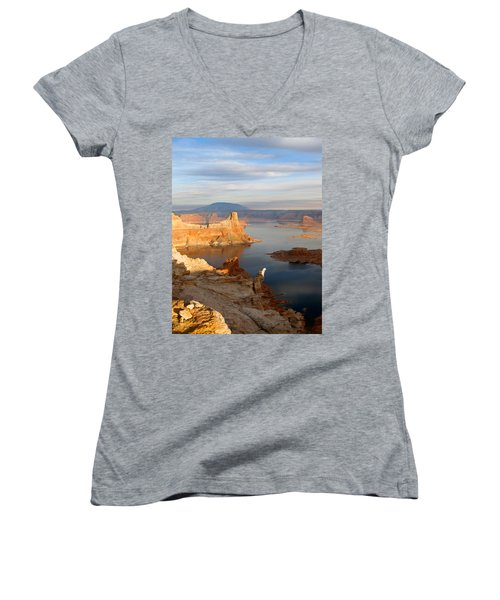 Lake Powell From Alstrum Pt 12 Women's V-Neck T-Shirt (Junior Cut) by Jeff Brunton