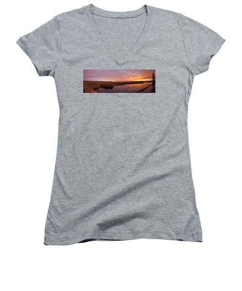 Lake Shelby Bridge Women's V-Neck T-Shirt (Junior Cut) by Michael Thomas
