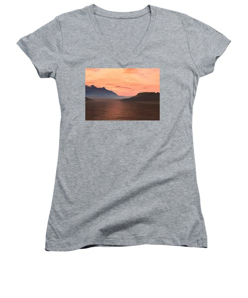 Women's V-Neck T-Shirt (Junior Cut) featuring the digital art Lake Sunset 1 by Judi Suni Hall