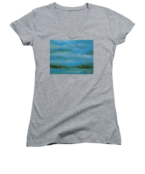Lake Wallenpaupack Early Morning Women's V-Neck T-Shirt (Junior Cut) by Judith Rhue