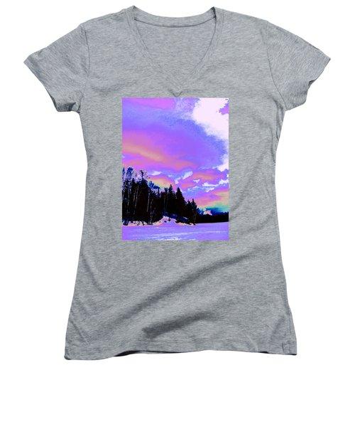 Winter  Snow Sky  Women's V-Neck T-Shirt (Junior Cut) by Expressionistart studio Priscilla Batzell