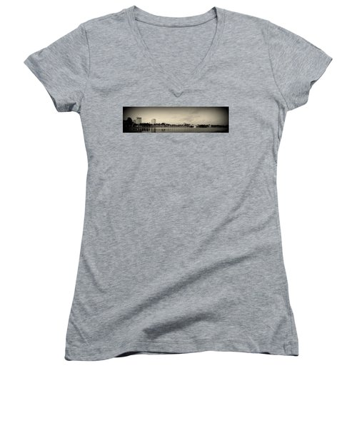 Women's V-Neck T-Shirt (Junior Cut) featuring the photograph Lakeland by Laurie Perry