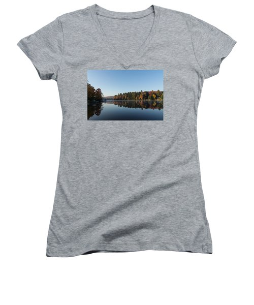 Lakeside Cottage Living - Peaceful Morning Mirror Women's V-Neck (Athletic Fit)