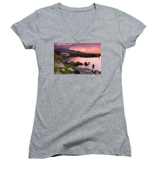 Lakeside Shanty At Dusk Women's V-Neck T-Shirt