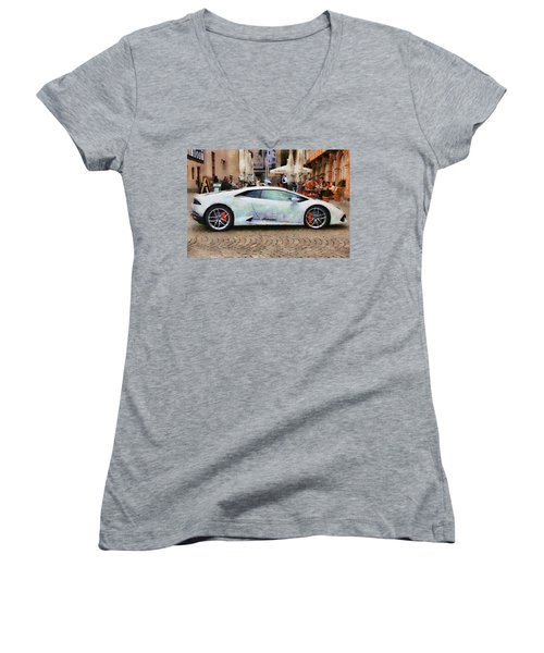 Lamborghini Huracane Lp 610-4 Parked In The City Women's V-Neck (Athletic Fit)