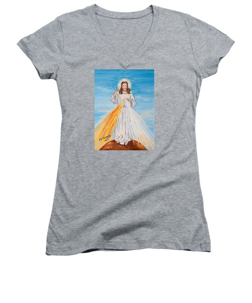 Women's V-Neck T-Shirt (Junior Cut) featuring the painting L'amore by Loredana Messina