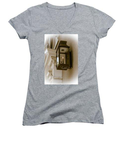 Women's V-Neck T-Shirt (Junior Cut) featuring the photograph Lamp Unto My Feet by Sennie Pierson