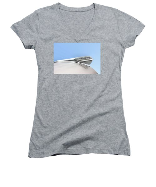 Land Yacht Hood Ornament Women's V-Neck T-Shirt (Junior Cut) by Kristin Elmquist