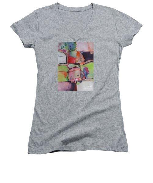Women's V-Neck T-Shirt (Junior Cut) featuring the painting Landscape by Michelle Abrams