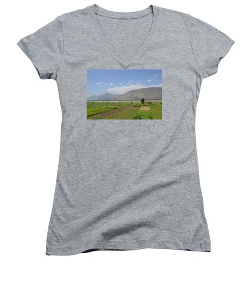 Women's V-Neck T-Shirt (Junior Cut) featuring the photograph Landscape Of Mountains Sky And Fields Swat Valley Pakistan by Imran Ahmed