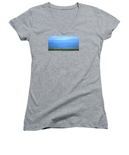 Women's V-Neck T-Shirt (Junior Cut) featuring the photograph landscape of North CA by Rima Biswas