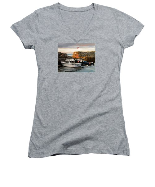 Lanes Cove Fishing Boats Women's V-Neck (Athletic Fit)
