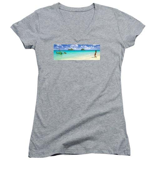 Lanikai Beach Paradise 3 To 1 Aspect Ratio Women's V-Neck T-Shirt (Junior Cut) by Aloha Art