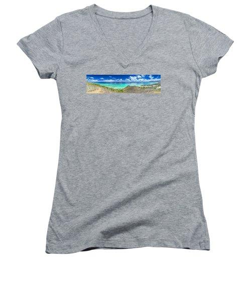 Lanikai Bellows And Waimanalo Beaches Panorama Women's V-Neck T-Shirt