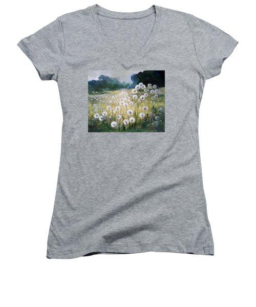 Lanscape With Blow-balls Women's V-Neck T-Shirt (Junior Cut) by Irek Szelag