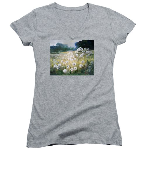 Lanscape With Blow-balls Women's V-Neck T-Shirt (Junior Cut)