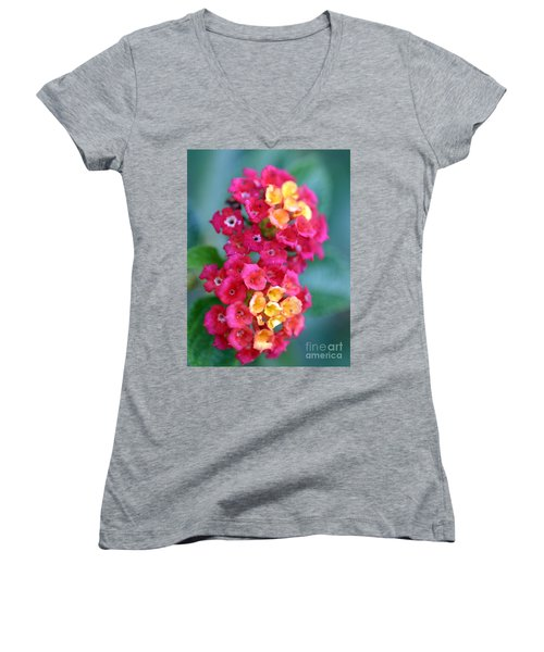 Women's V-Neck T-Shirt (Junior Cut) featuring the photograph Lantana by Henrik Lehnerer
