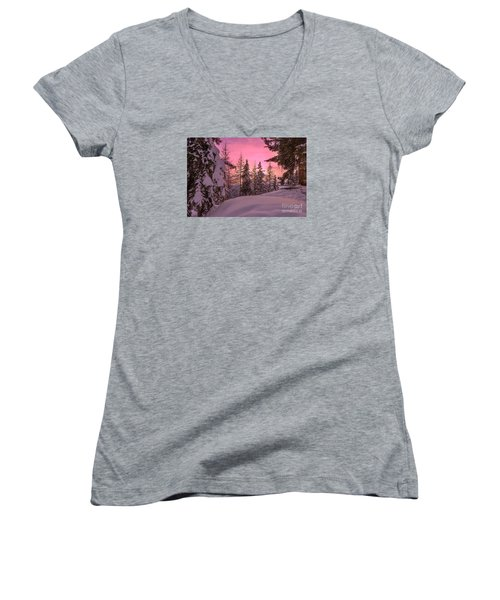 Lapland Sunset Women's V-Neck T-Shirt (Junior Cut) by IPics Photography