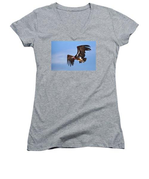Lappetfaced Vulture Women's V-Neck T-Shirt (Junior Cut)