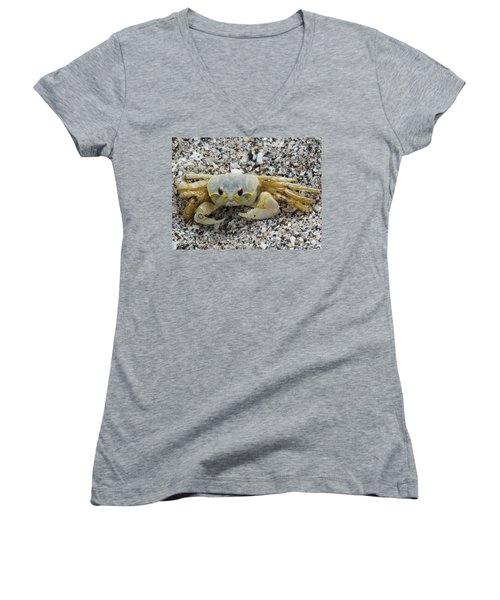 Women's V-Neck T-Shirt (Junior Cut) featuring the photograph Ghost Crab by Cynthia Guinn