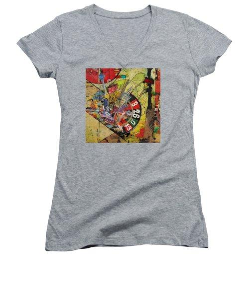 Las Vegas Collage Women's V-Neck T-Shirt (Junior Cut)