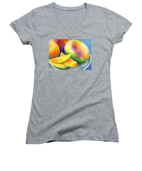 Last Mango In Paris Women's V-Neck T-Shirt (Junior Cut) by Stephen Anderson