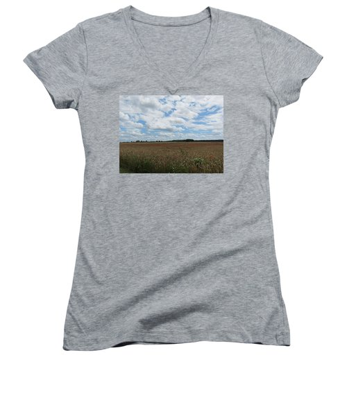 Women's V-Neck T-Shirt (Junior Cut) featuring the photograph Last Of The Poppies by Pema Hou