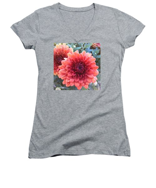 Women's V-Neck T-Shirt (Junior Cut) featuring the photograph Last Of The Summer by Denyse Duhaime
