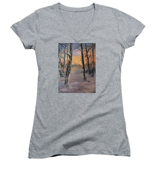 Last Of The Sun Women's V-Neck T-Shirt (Junior Cut) by Jean Walker