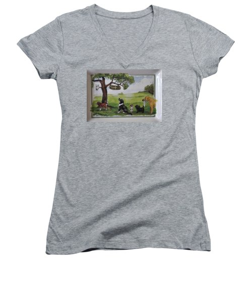 Last Tree Dogs Waiting In Line Women's V-Neck T-Shirt (Junior Cut) by Jay Milo