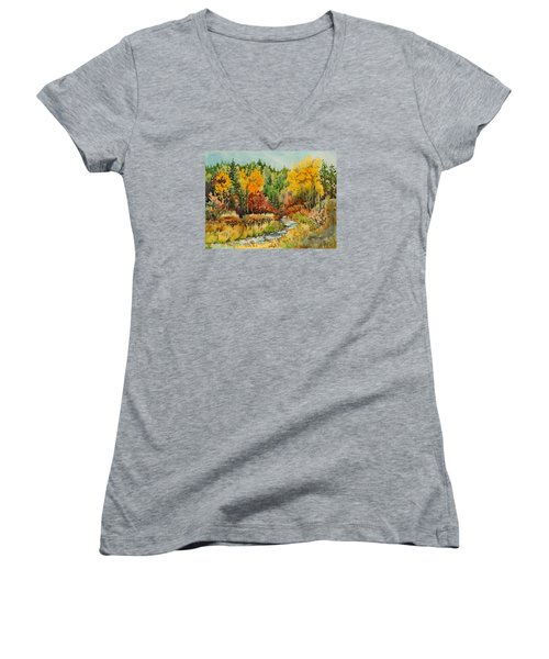 Latah Creek Fall Colors Women's V-Neck (Athletic Fit)