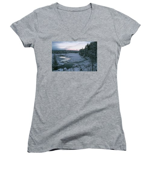 Women's V-Neck T-Shirt (Junior Cut) featuring the photograph Late Afternoon In Winter by David Porteus