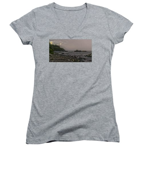 Women's V-Neck T-Shirt (Junior Cut) featuring the photograph Late Afternoon Sun On West Quoddy Head Lighthouse by Marty Saccone