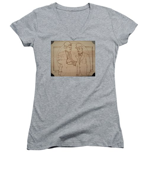 Laurel And Hardy - Thicker Than Water Women's V-Neck T-Shirt (Junior Cut) by Sean Connolly