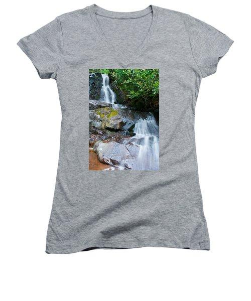 Laurel Falls Women's V-Neck T-Shirt (Junior Cut) by Melinda Fawver