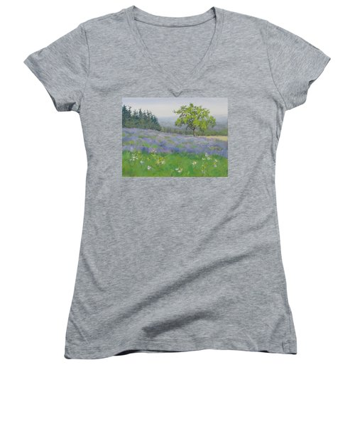 Women's V-Neck T-Shirt (Junior Cut) featuring the painting Lavender Afternoon by Karen Ilari
