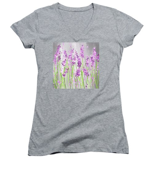 Lavender Blossoms - Lavender Field Painting Women's V-Neck (Athletic Fit)