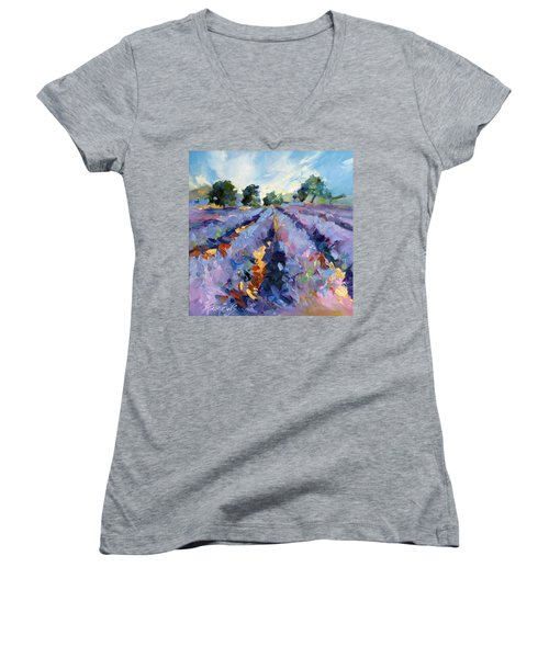 Lavender Blues Women's V-Neck T-Shirt (Junior Cut) by Rae Andrews
