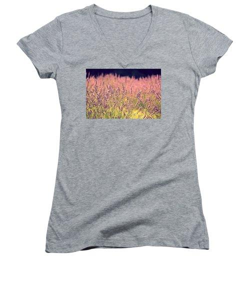 Women's V-Neck T-Shirt (Junior Cut) featuring the photograph Lavender Dreams by Lynn Sprowl
