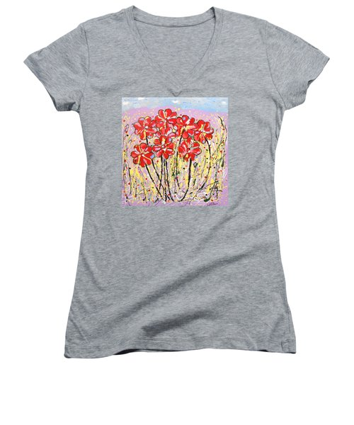 Lavender Flower Garden Women's V-Neck (Athletic Fit)