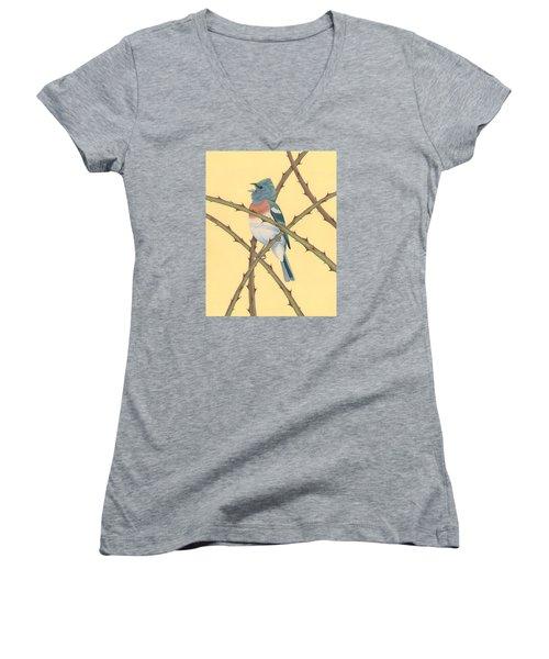 Lazuli Bunting Women's V-Neck T-Shirt