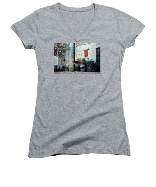 Women's V-Neck T-Shirt (Junior Cut) featuring the photograph Lazy Afternoon At The Winery by Diane Alexander