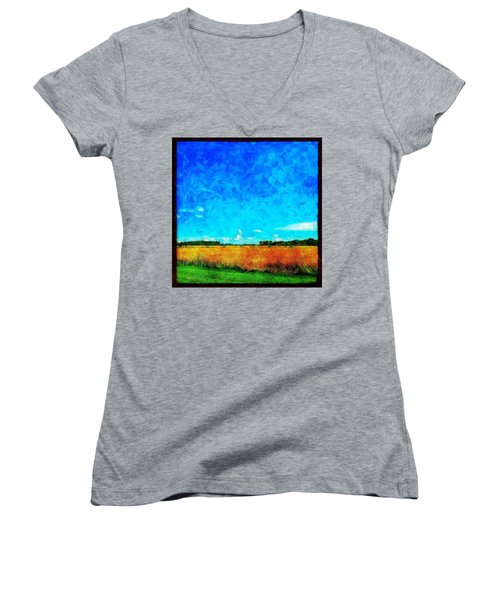 Lazy Clouds In The Summer Sun Women's V-Neck (Athletic Fit)