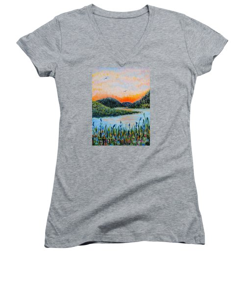 Women's V-Neck T-Shirt (Junior Cut) featuring the painting Lazy River by Holly Carmichael