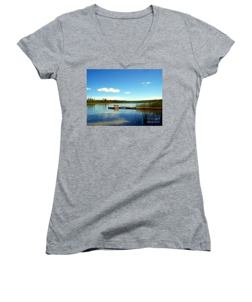 Lazy Summer Day Women's V-Neck T-Shirt (Junior Cut) by Desiree Paquette
