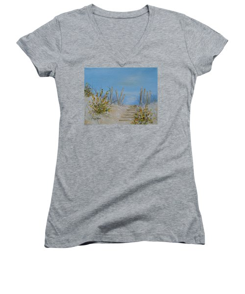 Lbi Peace Women's V-Neck T-Shirt (Junior Cut) by Judith Rhue