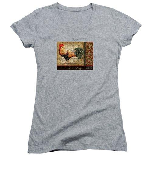Le Coq-c Women's V-Neck T-Shirt (Junior Cut) by Jean Plout